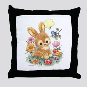 Cute Easter Bunny With Flowers And Throw Pillow