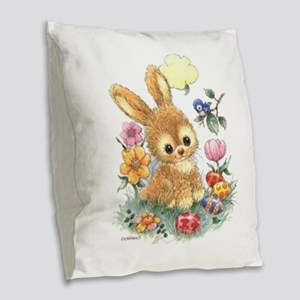 Cute Easter Bunny With Flowers Burlap Throw Pillow