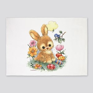 Cute Easter Bunny With Flowers And 5'x7'ar
