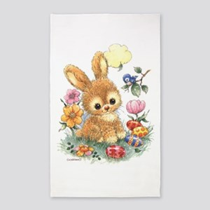 Cute Easter Bunny with Flowers and Eggs Area Rug