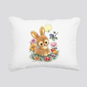 Cute Easter Bunny with Flowers and Eggs Rectangula