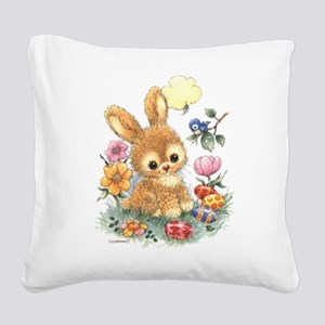 Cute Easter Bunny with Flowers and Eggs Square Can