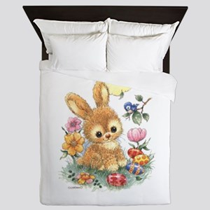 Cute Easter Bunny With Flowers And Queen Duvet