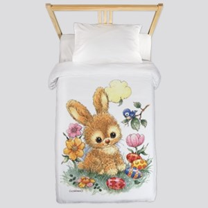 Cute Easter Bunny With Flowers Twin Duvet Cover