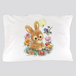 Cute Easter Bunny With Flowers And Pillow Case