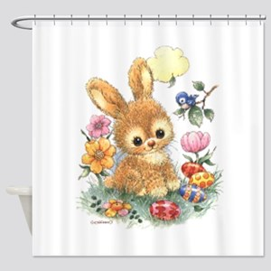 Cute Easter Bunny with Flowers and Eggs Shower Cur