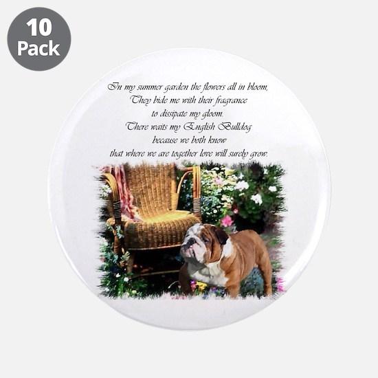 "English Bulldog Art 3.5"" Button (10 pack)"