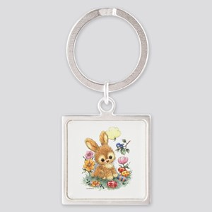 Cute Easter Bunny With Flowers And Eggs Keychains
