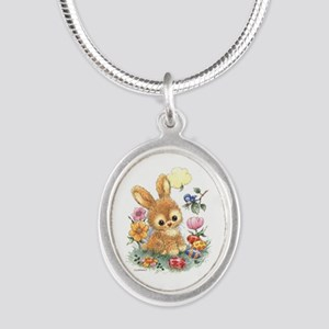 Cute Easter Bunny With Flowers And Eggs Necklaces