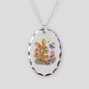 Cute Easter Bunny With Flowers Necklace Oval Charm