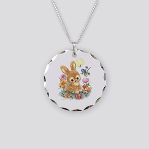 Cute Easter Bunny With Necklace Circle Charm