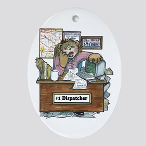 School Bus Dispatcher Female Oval Ornament