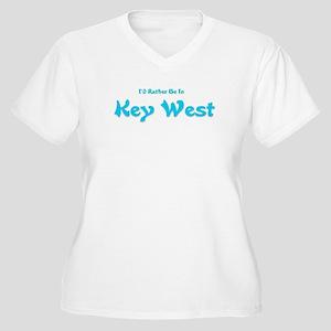 I'd Rather Be...Key West Women's Plus Size V-Neck