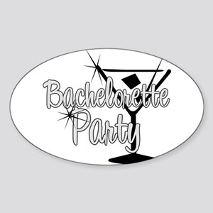 Black & White Martini Bachelo Oval Sticker