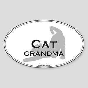 Cat Grandma Oval Sticker
