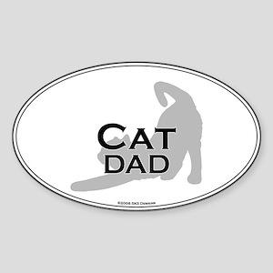 Cat Dad Oval Sticker