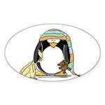 Bedtime Penguin Oval Sticker