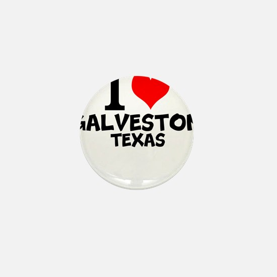 I Love Galveston, Texas Mini Button