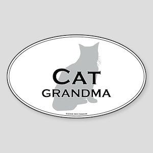 House Cat Grandma Oval Sticker