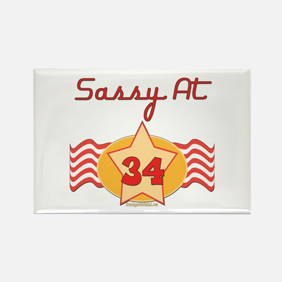 Sassy At 34 Years Rectangle Magnet