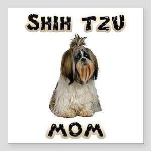 "Shih Tzu Mom Square Car Magnet 3"" x 3"""