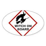 Witch on Board Oval Sticker