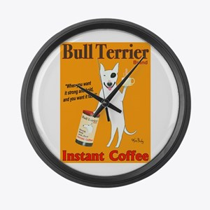 Bull Terrier Coffee Large Wall Clock