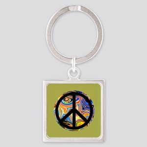 Abstract Peace-green Keychains