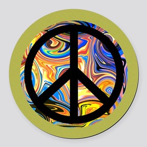 Abstract Peace-green Round Car Magnet