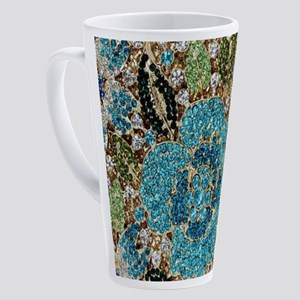bohemian floral turquoise rhinesto 17 oz Latte Mug