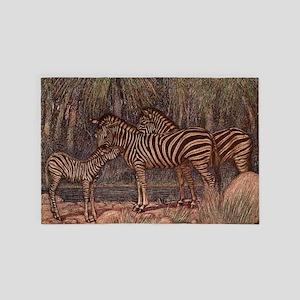 Vintage Zebra Painting (1909) 4' x 6' Rug