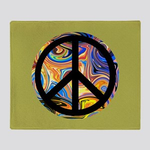 Abstract Peace-green Throw Blanket
