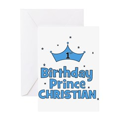Christian 1st Birthday Prince Greeting Card