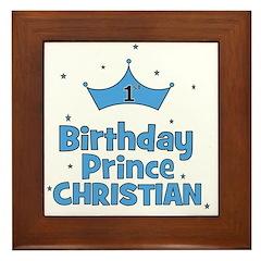 Christian 1st Birthday Prince Framed Tile