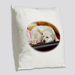 The Lab Cuddle Burlap Throw Pillow