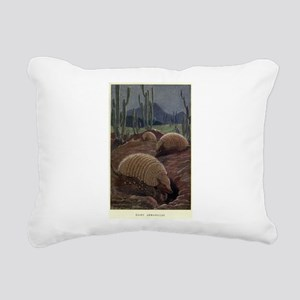 Vintage Armadillo Painti Rectangular Canvas Pillow