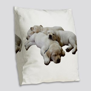 Lab Siblings Burlap Throw Pillow