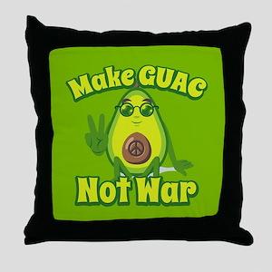Emoji Avocado Make Guac Not War Throw Pillow