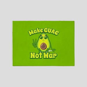 Emoji Avocado Make Guac Not War 5'x7'Area Rug