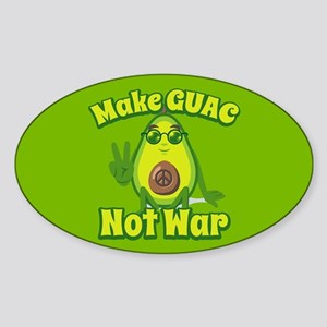 Emoji Avocado Make Guac Not War Sticker (Oval)