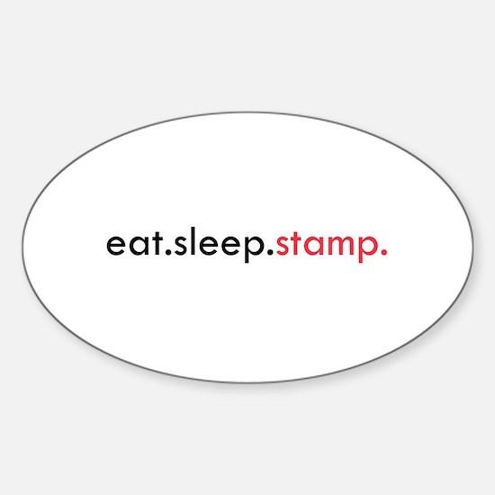 Eat Sleep Stamp Oval Decal