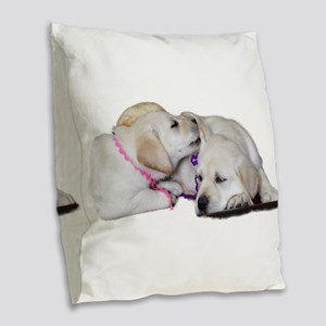 Lab Ear Sniff Burlap Throw Pillow