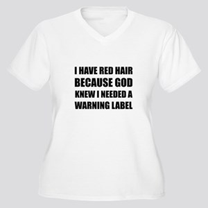 Red Head Hair Warning Label Funny Plus Size T-Shir