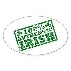 100 Percent Authentic Irish Oval Decal
