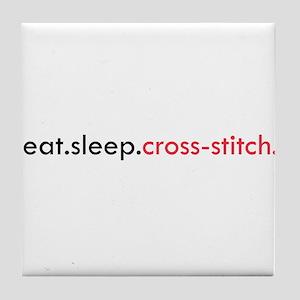 Eat Sleep Cross Stitch Tile Coaster
