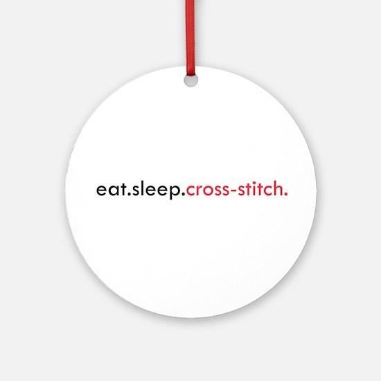 Eat Sleep Cross Stitch Ornament (Round)