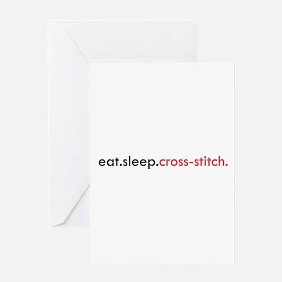 Eat Sleep Cross Stitch Greeting Card