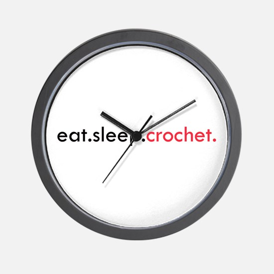Eat Sleep Crochet Wall Clock