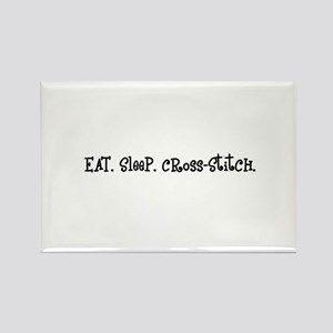Eat Sleep Cross-Stitch Rectangle Magnet