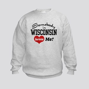 Somebody in Wisconsin Loves Me Kids Sweatshirt